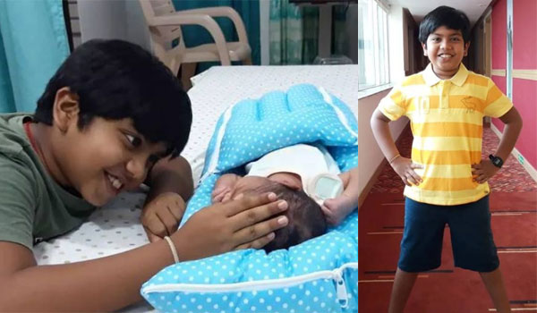 Master-Ashwanth-welcomes-his-baby-brother